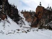 Bevroren canyon banken in siberië — Stockfoto