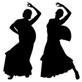 Two black silhouettes of female flamenco dancer — Vector de stock