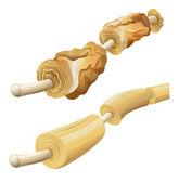 Damaged and healthy myelin sheaths — Stock Vector