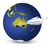Earth globe and airplane — Stock Vector