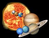 太陽と惑星 — ストックベクタ