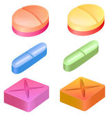 Different shapes of medicinal pills — Stock Vector