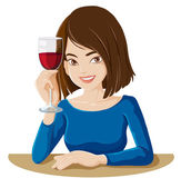 A lady holding a glass of red wine — Stock Vector