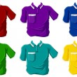 Colorful polo shirts — Stock Vector