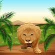 A lion at the jungle — Stock Vector