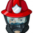 Stock Vector: Head of fireman