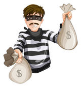 A robber with two sacks of cash — Stock Vector