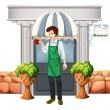 A barista outside the restaurant — Stock Vector