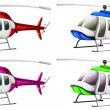 Stock Vector: Group of helicopters