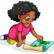 A Black young girl studying — Vettoriale Stock