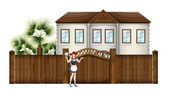 A housemaid in front of the big house — Stock Vector