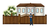A policeman in front of the house — Stockvector