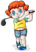 A Caucasian boy playing golf — Stockvector