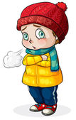 A Caucasian baby feeling cold — Stock Vector