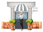 A chef in front of the restaurant — Stock Vector