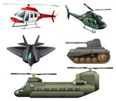 Fighting jetplane, choppers, cannon and tank — Stock Vector