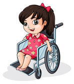 An Asian girl riding on a wheelchair — Stock Vector