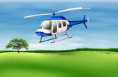 A helicopter about to land — Stock Vector