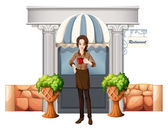 A lady in front of the restaurant — Stock Vector