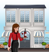A female server in front of a building — Stock Vector