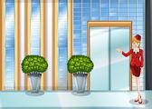 A waitress standing near the entrance door — Stock Vector