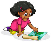 A Black young girl studying — Vector de stock
