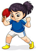 A female Asian playing tabletennis — Stockvector