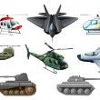 Stock Vector: Different war transportations