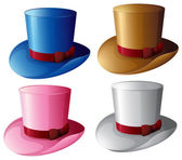 Four hats with red ribbons — Stock Vector