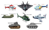 Different war transportations — Stock Vector