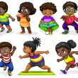 Stock Vector: Africchildren engaging in different activities