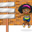 A girl jumping in front of the stonewall beside the empty signbo — Stock Vector