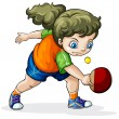 A Caucasian girl playing table tennis — Stock Vector #40048323