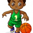 A young Black boy playing basketball — Stock Vector