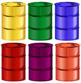 Six colorful barrels — Stock Vector