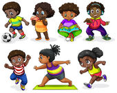 African children engaging in different activities — Stock Vector