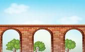 A bridge with trees — Stock Vector