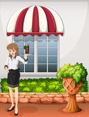 A waitress outside the restaurant carrying a tray — Stock Vector