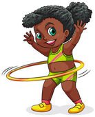 A young black girl playing with the hulahoop — Stock Vector