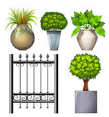 A steel gate and potted plants — Stock Vector