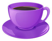 A violet cup with coffee — Stock Vector