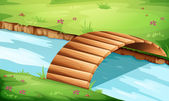 A wooden bridge at the river — Stock Vector