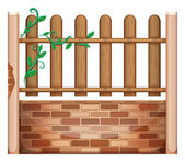 A fence made of bricks and woods — Stock Vector