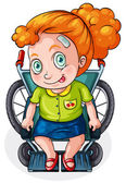 A Caucasian lady riding on a wheelchair — Stock Vector