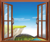 A window with a view of the cliff at the river — Stock Vector