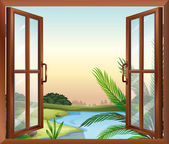 A window overlooking the view of nature — Stock Vector