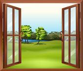 An open wooden window — Stock Vector