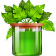 A jar with a green plant — Stock Vector