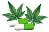 A capsule of marijuana — Stok Vektör