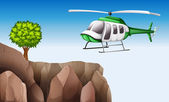 Bir helikopter yakınındaki uçurumu — Stok Vektör
